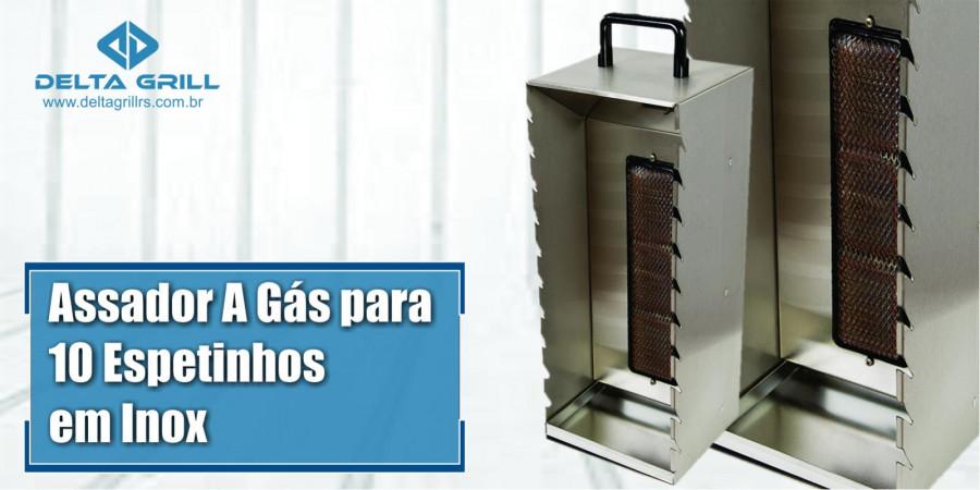 Ver artigo Assador a gás para espetinhos em inox, com capacidade para 10 espetinhos