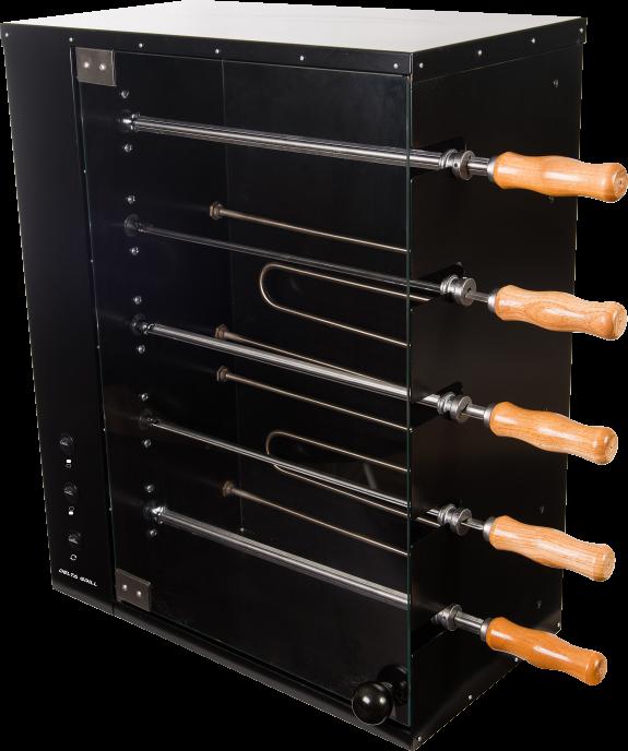 Assador elétrico de bancada, com capacidade para 05 espetos